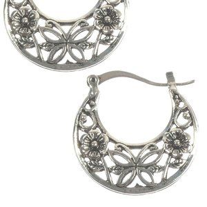 Cutout Butterfly Flower Silver Metal Earrings